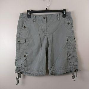 Ann Taylor Loft grey green cargo shorts size 4